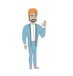 Young hindu businessman waving his hand vector