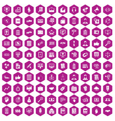 100 business training icons hexagon violet vector