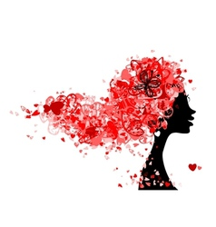 Female head with hairstyle made from tiny hearts vector