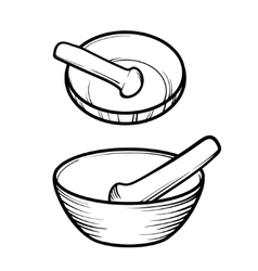Mortar and pestle linear logo vector