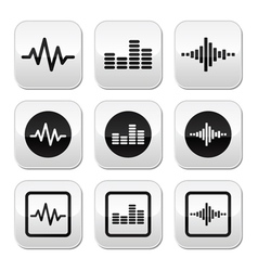 Soundwave music buttons set vector