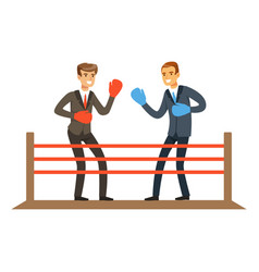 Businessmen fighting on boxing ring business vector