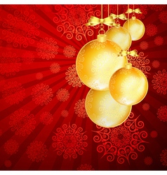 Red christmas backdrop with gold balls vector