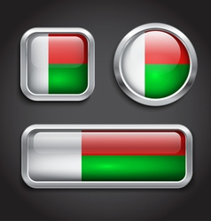 Madagascar flag glass buttons vector