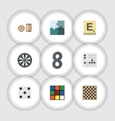 Flat icon play set of chess table lottery cube vector