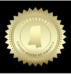 Gold star label Mississippi vector image