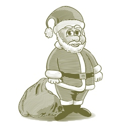 Engraved cartoon santa vector