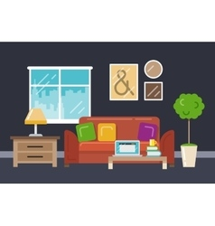 Home office interior in flat style vector