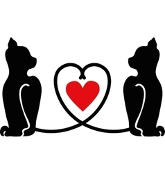 Cat silhouettes with heart vector