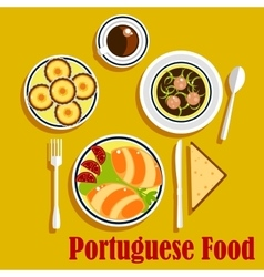 Portuguese cuisine empanadas egg tarts and coffee vector