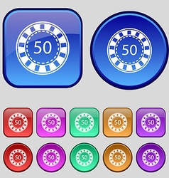 Gambling chips icon sign a set of twelve vintage vector