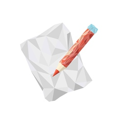 Polygonal pencil icon with geometrical figures vector