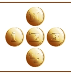 Golden coins with numerals - part 1 vector