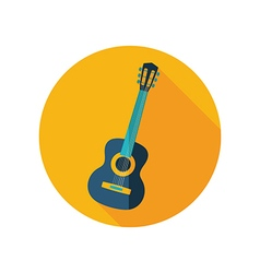 Guitar beach flat icon summer vacation vector