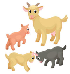 Adult goat with tree young goats on the white back vector image