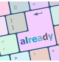 already word on computer keyboard key online vector image