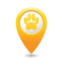 Animal footstep map pointer yellow vector