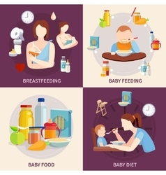 Baby feeding 4 flat icons square vector