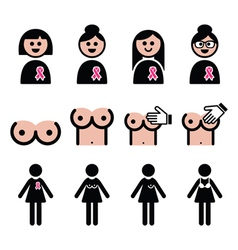 Breast cancer woman with pink ribbon icons set vector image vector image
