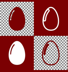 Chicken egg sign bordo and white icons vector
