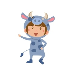 Child wearing costume of cow vector