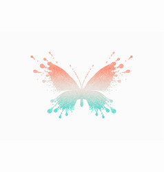 colorful icon of red-turquoise butterfly vector image vector image