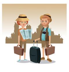 couple tourist map luggage traveler urban vector image vector image