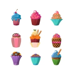 Decorated cupcakes sticker collection vector