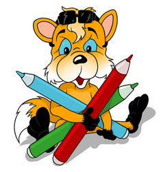 fox holding colored pencils vector image
