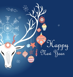 greeting christmas card with a picture of a deer vector image vector image