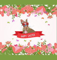 happy easter rabbit and flower frame vector image vector image