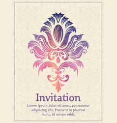 Invitation card with watercolor damask element on vector