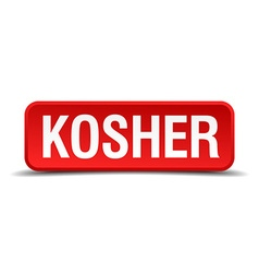 Kosher red 3d square button isolated on white vector image