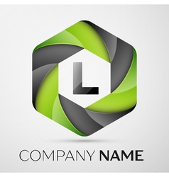 L letter colorful logo in the hexagonal on grey vector