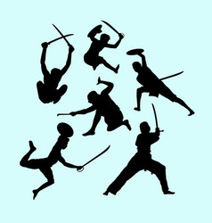 Martial art male and defense action silhouette vector