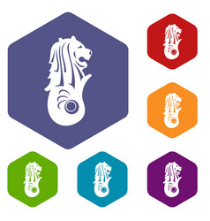 Merlion statue singapore icons set vector