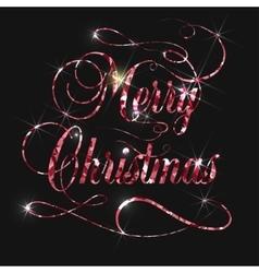Merry christmas gold glitter lettering design vector