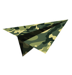 Military camouflage a paper airplane childrens vector