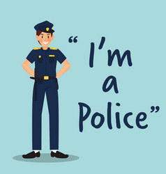 Policeman character with uniform on sky blue vector