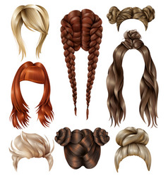 Realistic female hairstyles set vector