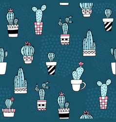 Seamless pattern with cute cactus and hand drawn vector