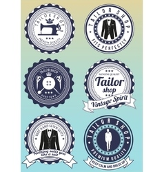 Set of dark blue round badges for tailor shops vector image vector image