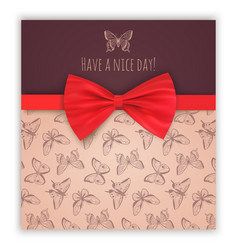 Sketch butterflies and red ribbon bow vector