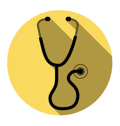 Stethoscope sign flat black vector