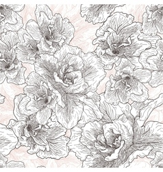 Seamless hand drawn pattern with hibiscus flowers vector