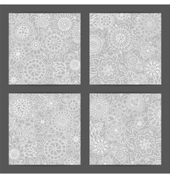 Set of patterns with flowers ornate zentangle vector