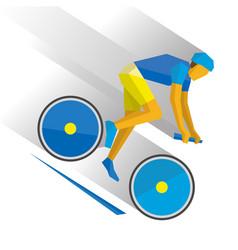 mountain bike cartoon cyclist down the mountain vector image