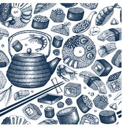sushi seamless pattern vector image