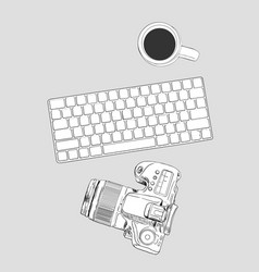 Realistic workplace organization top view with vector