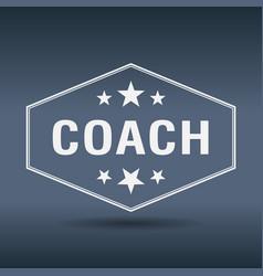 Coach hexagonal white vintage retro style label vector